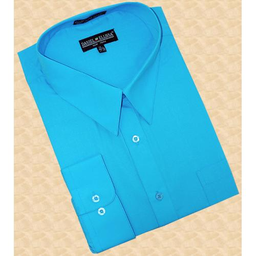 Daniel Ellissa Solid Turquoise Cotton Blend Dress Shirt With Convertible Cuffs DS3001