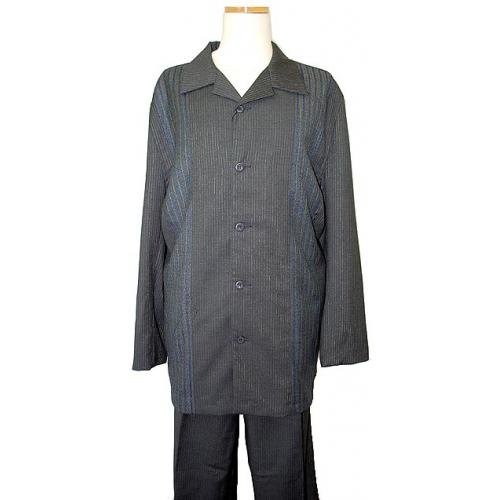 Syllables Dark Grey With Navy Blue Stripes 2PC Outfit PL5321