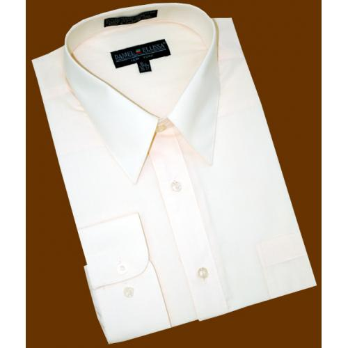 Daniel Ellissa Solid Cream Ivory Cotton Blend Dress Shirt With Convertible Cuffs DS3001