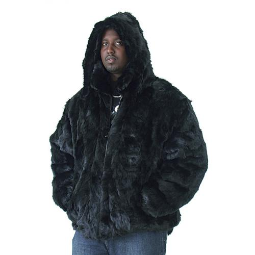 Winter Fur Black Genuine Mink Fur Pieces Bomber Jacket With Detachable Hood M03R02BK
