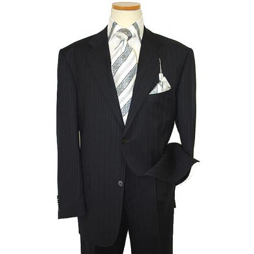 Giorgio Sanetti Navy Blue/Silver Grey Pinstripes Super 150's 100% Wool Suit 21249