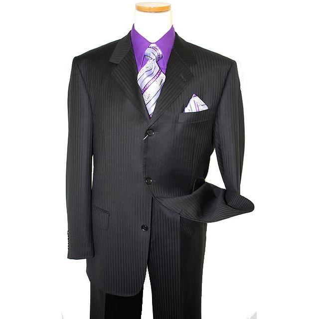 4239fae84be013 Giorgio Sanetti Black Shadow Stripes Super 150's 100% Wool Suit 238016