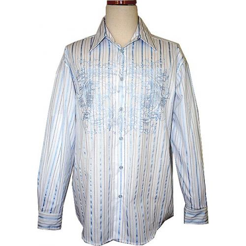 Pronti White/Sky Blue Embroidery With Lurex Stripes Cotton Blend Shirt S1536