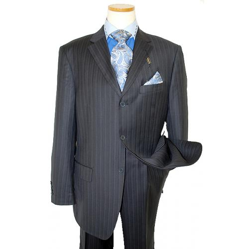 Giorgio Cosani Navy Blue/Royal Blue Pinstripes Super 140'S Wool Suit 893
