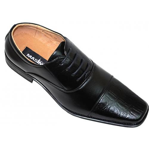 Masimo 2133 Black Alligator Print Leather Shoes