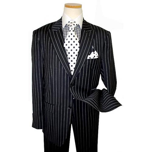 Steve Harvey Classic Collection Black/White Chalk Stripes Super 120's Merino Wool Suit 6615