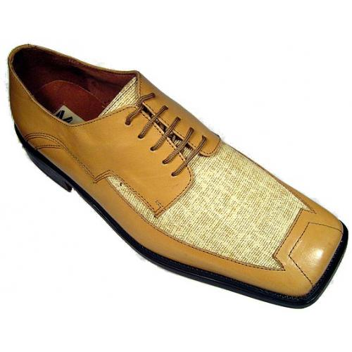 "Marco Vicci ""Fassero"" Taupe Leather/Linen Shoes"