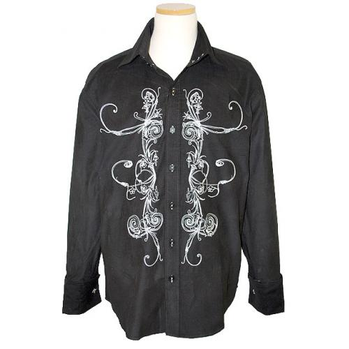 Manzini Black With White Emroidered Design High Collar Long Sleeves Corduroy Shirt With French Cuffs MZ-83
