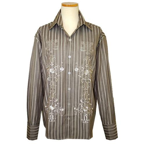 Manzini Light Taupe With Taupe Stripes And Champagne Embroidered Design High-Collar Long Sleeves 100% Cotton Shirt With French Cuffs MZ-79