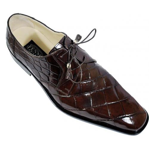 Fennix Italy 3101 Chocolate Genuine All-Over Alligator Shoes