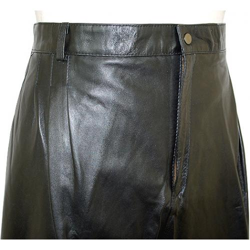 Mark Andre Black Genuine Lambskin Leather Pants TR-705