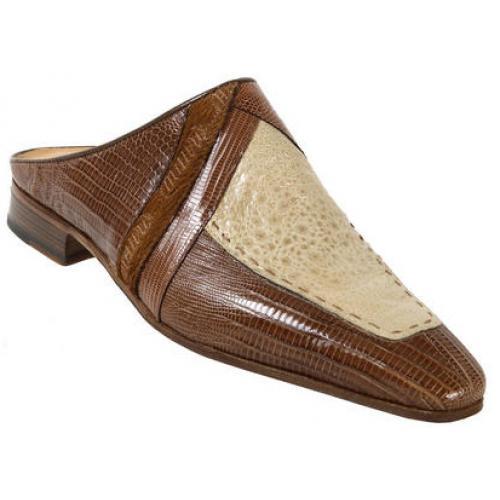 0e0914d383 Mauri 4236 Camel Bone Genuine Lizard Frog Pony Mauri Embroidery Half Shoes