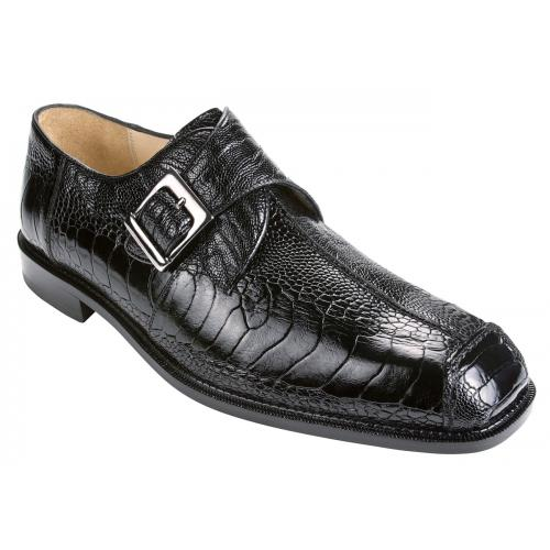 "Belvedere ""Dolce"" Black All-Over Genuine Ostrich Monk Strap Shoes 740"