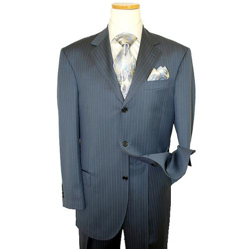 Extrema by Zanetti Slate Blue With Cognac/Silver Grey Pinstripes Super 120's Wool Suit