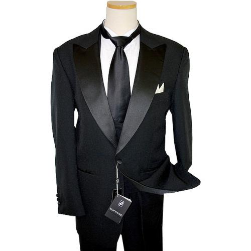 Soprano Black 100% Fine Polyester Tuxedo Suit With Double Breasted Satin Vest
