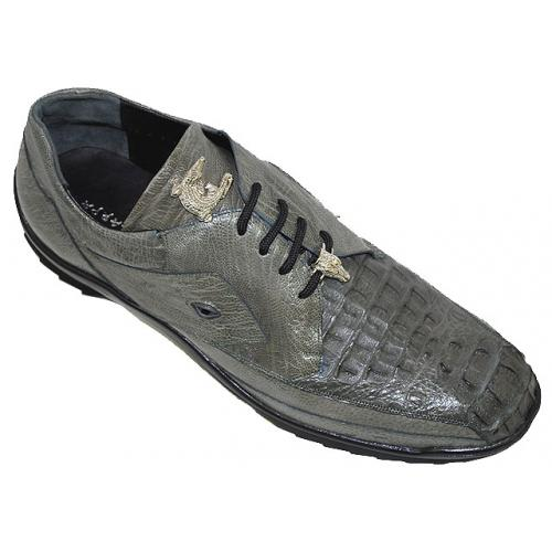 "La Scarpa ""Hector"" Grey Genuine Hornback Crocodile And Ostrich Leg Casual Sneakers With Silver Alligator On Front"