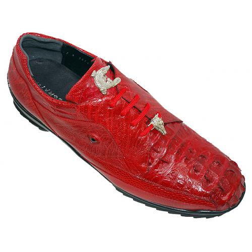 "La Scarpa ""Hector"" Red Genuine Hornback Crocodile And Ostrich Leg Casual Sneakers With Silver Alligator On Front"