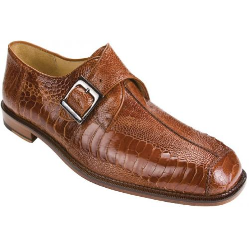 "Belvedere ""Dolce"" Brandy All-Over Genuine Ostrich Monk Strap Shoes 740"