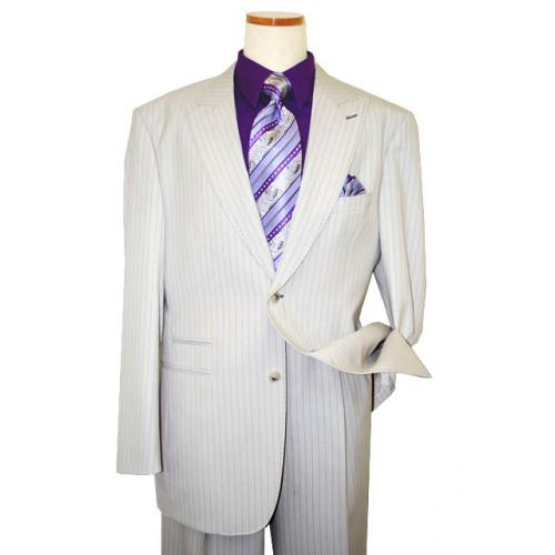 Steve Harvey Classic Collection Off White/Lavender Pinstripes And Hand-Pick Stitching Super 120's Suit 6746