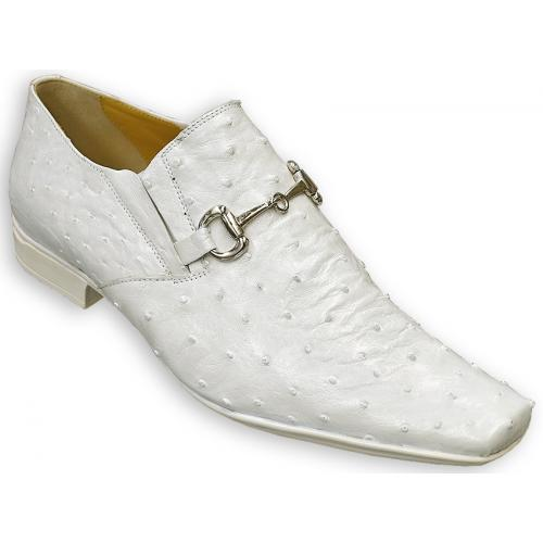 "Mauri ""Cape Town"" 0215 White All-Over Genuine Ostrich Loafer Shoes With Bracelet On Front."