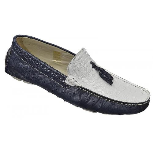 "Mauri ""Cape Coast"" Wonder Blue/White Genuine Ostrich Shoes"