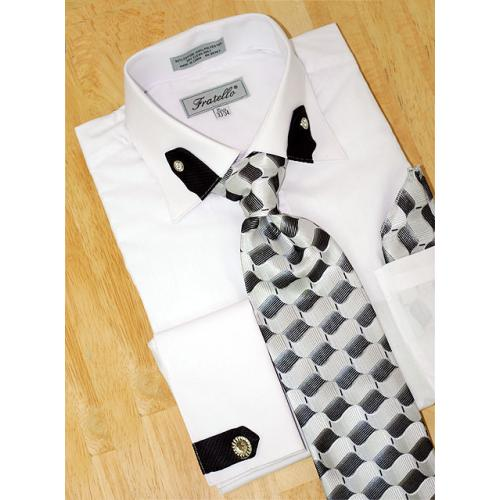 Fratello White/Black Tabbed Collar/French Cuffs Shirt/Tie/Hanky Set With Free Cufflinks FRV4101
