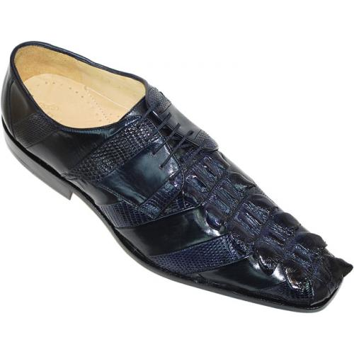 "Belvedere ""Fabrizio"" Navy Genuine Nile Crocodile Tail/Lizard/Calf Shoes"