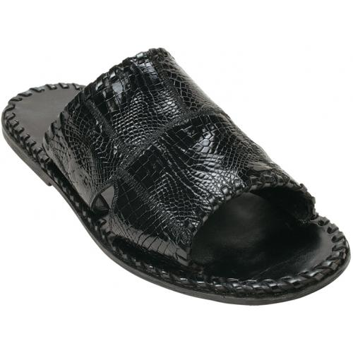 "Belvedere ""Palma"" Black Genuine Alligator Patchwork Sandals"