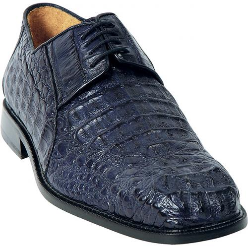 "Belvedere ""Coppola"" Navy All-Over Genuine Hornback Crocodile Shoes"
