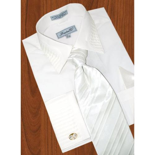 Fratello White Shirt With Pleated Collar/ Pleated French Cuffs  & Pleated Tie/Hanky Set FRV4103