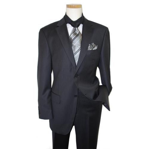 Giorgio Cosani  Black/Silver Pinstripes Luxury Fine Wool Suit 892