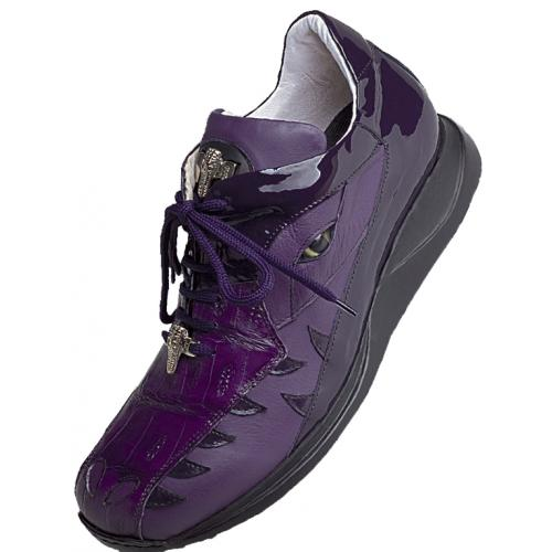 Mauri 8770 New Grape Genuine Baby Crocodile / Nappa / Patent Leather Sneakers With Silver Mauri  Alligator Head And Eyes