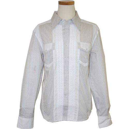 "Saint Cado ""Signature"" White / Black Pinstripes Long Sleeves 100% Cotton Shirt With Shoulder Straps S-2151"