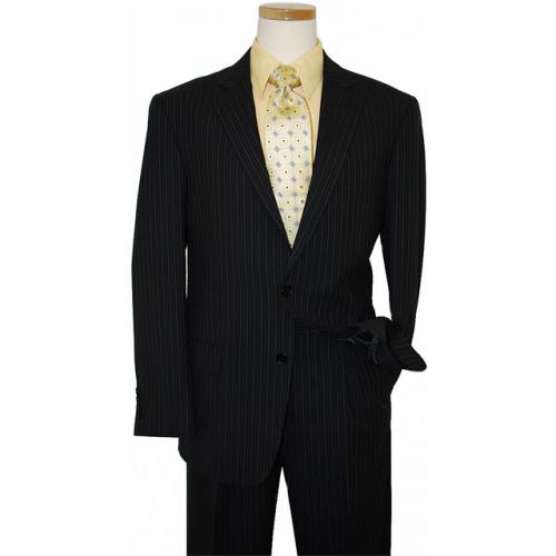 Ideal  by Zanetti Black with White Pinstripes Super 140's Wool Suit ML43602