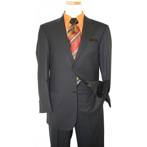 Collezioni by Zanetti Black With Black Shadow  Pinstripes Super 120's Wool Suit BH43542