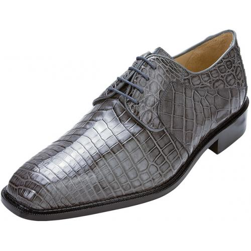 "Belvedere ""Panda"" Grey All-Over Genuine Nile Crocodile Shoes"