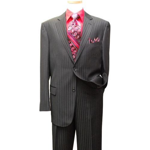 Jeffrey Banks Black Shadow Stripes Super 140's  Wool Suit 2389 / 8003