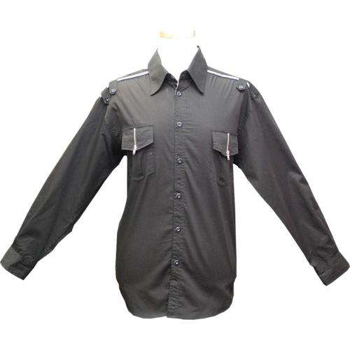 Cielo Black Casual Shirt With Zippers