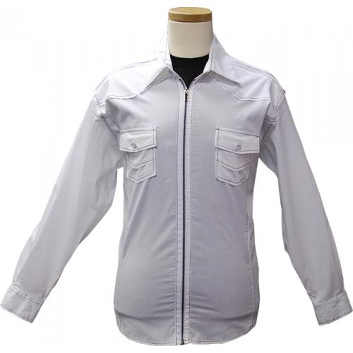Cielo White With Black Pick-Stitching And Zipper Jacket-Style Casual Shirt