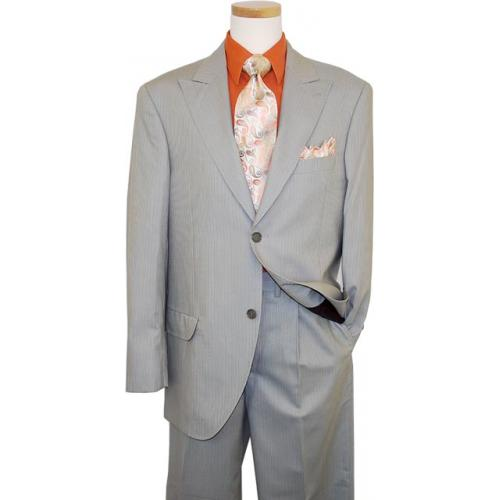 Azione by Zanetti Sage Green / Cognac White Stripes Super 120's Suit ZZ35243