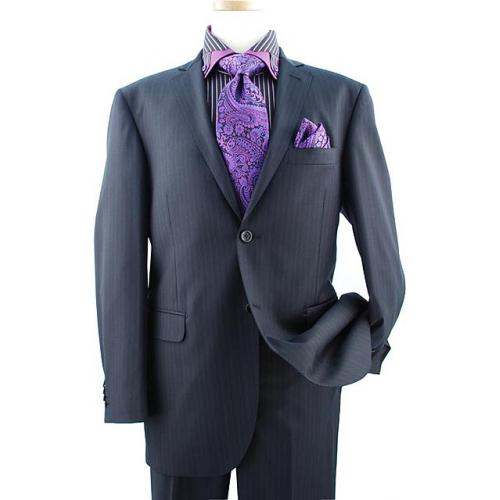 Elements by Zanetti Black With Violet Stripes Super 120's Wool Suit ZZ50035