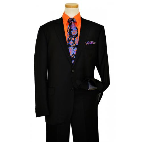 Elements by Zanetti Solid Black Super 100's Wool Suit 1026