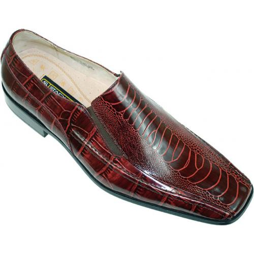 "Stacy Adams ""Teague"" Burgundy Alligator / Ostrich Print Loafers"