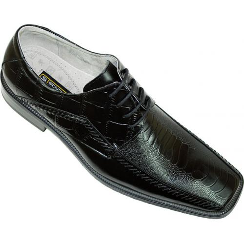 "Stacy Adams ""Fulbright"" 24549 Black Alligator / Ostrich Print Shoes"