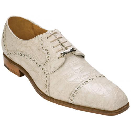 "Belvedere ""Lupo"" Bone All-Over Genuine Crocodile Belly Shoes"