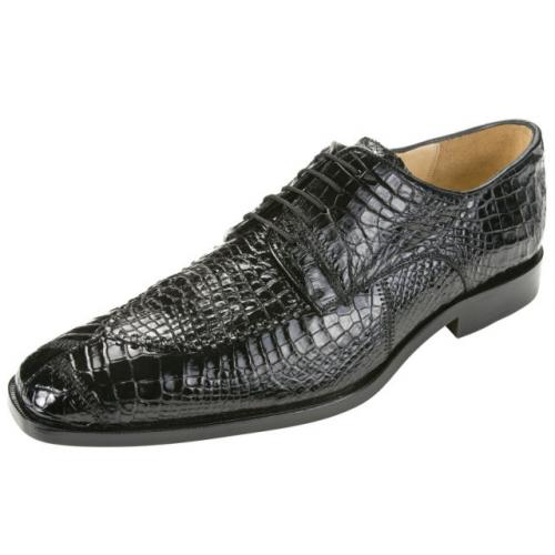 "Belvedere ""Monte 8011"" Black Genuine Crocodile Shoes"