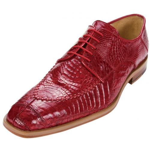 "Belvedere ""Monte 8011"" Flame Red Genuine Crocodile  Shoes"