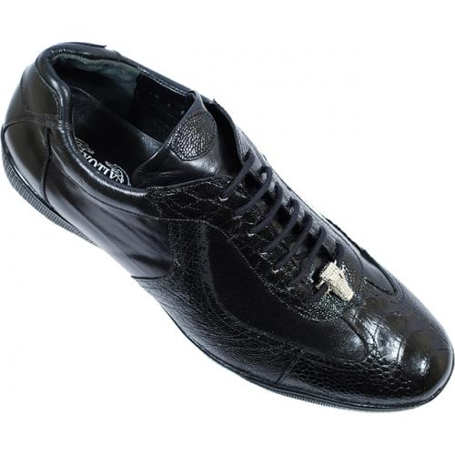 "Exotix ""Magic"" Black Genuine All Over Ostrich Leather Casual Sneakers"