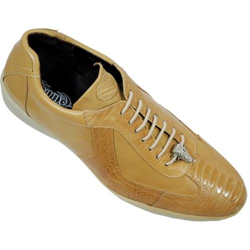 "Exotix ""Magic"" Sand Genuine All Over Ostrich Leather Casual Sneakers"