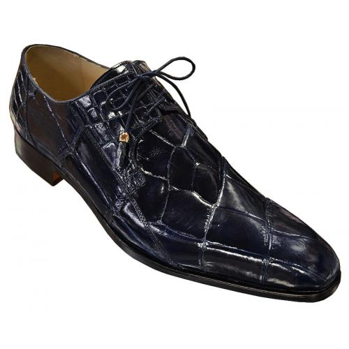Fennix Italy 3228 Navy Blue All-Over Genuine Alligator Shoes.